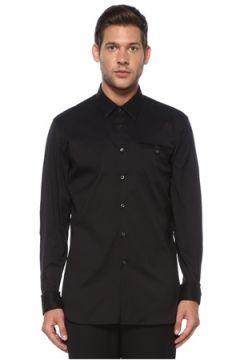 Prada Erkek Siyah Polo Yaka Cepli Gömlek 40 IT(119785445)
