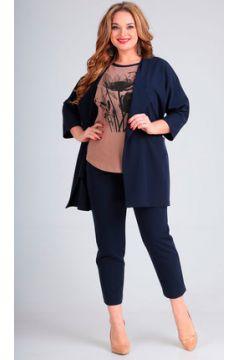 Комплект брючный Andrea Style 00261 синий с мокко(115243731)