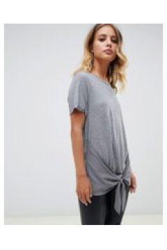 AllSaints - Yato - T-Shirt mit geknoteter Vorderseite - Grau(83104797)