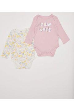 DeFacto Kız Bebek Baskılı Çıtçıtlı Body(125928965)