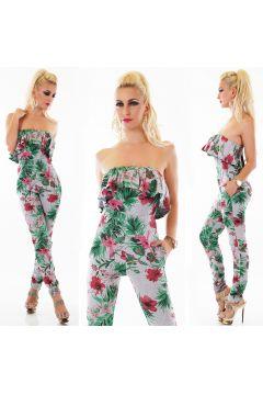 Maxi-Jumpsuit im Bandeau-Style mit Hawaii-Print(109090804)