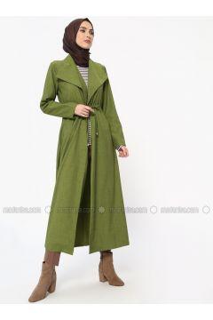 Green - Unlined - Shawl Collar - Topcoat - Tavin(110326836)