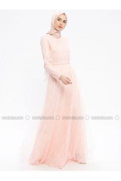 Powder - Fully Lined - Crew neck - Muslim Evening Dress - Robir(110320663)