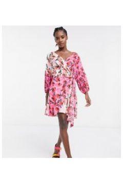 ASOS MADE IN KENYA - Vestito corto a portafoglio con stampa mista-Rosa(120855984)