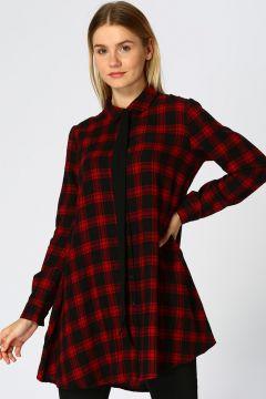 Only Ekose Desen Kırmızı Elbise(113966669)