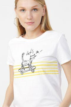 Mavi Kaykay Baskılı Penye Beyaz T-Shirt(126399242)