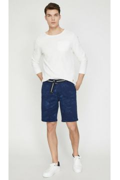 Koton Erkek Cep Detayli Kemerli Yaprak Desenli Slim Fit Sort(113411274)
