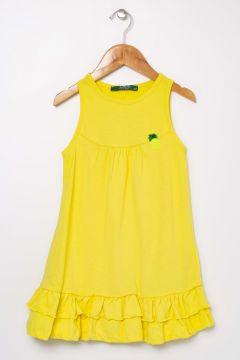 Limon Kız Çocuk Etek Ucu Volan Detaylı Sarı Elbise(115292200)