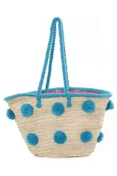 Cabas Very Bag Street Sac Paille pompons Mutli Bleu(115472943)