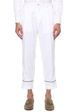 Pal Zileri Erkek Beyaz Yüksek Bel Kontrast Dikişli Pantolon 54 IT(118330208)