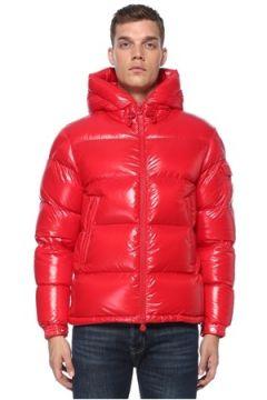 Moncler Erkek Ecrins Kırmızı Kapüşonlu Logo Patchli Mont 6 US(122066466)