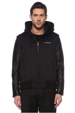 Givenchy Erkek Siyah Kapüşonlu Logolu Deri Mont 48 IT(126468837)