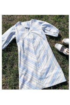 Native Youth - Vestito corto comodo con maniche a sbuffo a righe tenui-Bianco(121569557)
