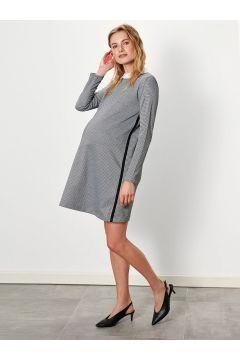 Kadın Kazayağı Desenli Hamile Elbise(126666802)