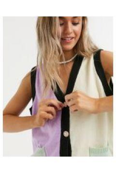Daisy Street - Cardigan oversize color block con bottoni a gemme-Multicolore(120791345)