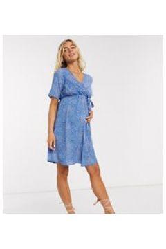 Mamalicious - Vestito corto a portafoglio premaman blu a fiori astratti(123213360)