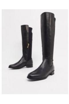 Karen Millen - Olivia - Stivali al ginocchio bassi in pelle nera-Nero(122355172)