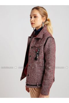 Red - Point Collar - Puffer Jackets - NG Style(110341172)