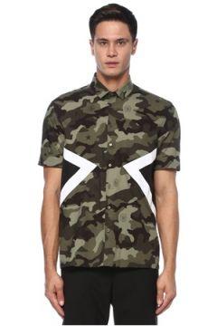 Neil Barrett Erkek Siyah Haki Polo Yaka Kamuflaj Desenli Gömlek S EU(121108190)