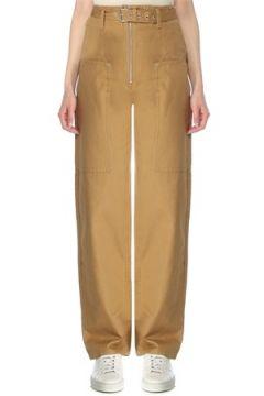 Etoile Isabel Marant Kadın Kamel Yüksek Bel Kemerli Boru Paça Pantolon Kahverengi 34 FR(127641528)