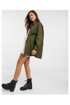 ASOS DESIGN - Camicia giacca oversize in cotone kaki-Verde(120857861)