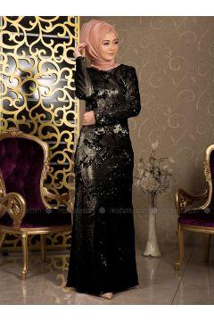 Black - Gold - Multi - Fully Lined - Crew neck - Muslim Evening Dress - İz Otantik(110335977)
