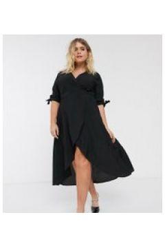 AX Paris Plus - Vestito midi a portafoglio nero(120329572)