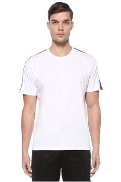 Givenchy Erkek Beyaz Kolları Şerit Logolu Basic T-shirt S EU(125149492)