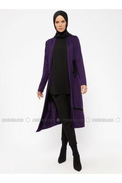 Purple - Viscose - Cardigan - Nihan(110318255)