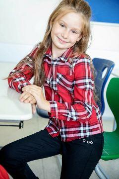 DeFacto Kız Çocuk Tek Cepli Ekose Gömlek(108639777)