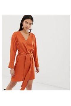 Weekday - Elegantes Wickelkleid in dunklem Orange - Orange(86689894)