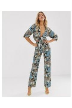 Koco & K - Weit geschnittene Hose mit buntem Print - Mehrfarbig(93961753)