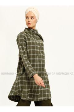 White - Khaki - Stripe - Polo neck - Tunic - MAKBUSH(110317412)