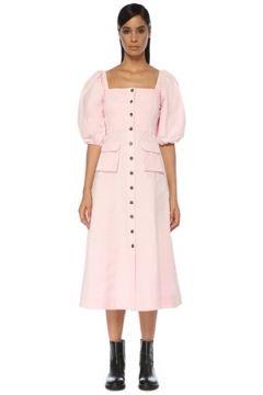 Ganni Kadın Pembe Kare Yaka Balon Kol Midi Elbise 36 FR(120885372)