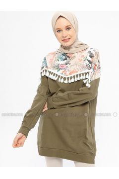 Khaki - Multi - Cotton - Crew neck - Tracksuit Top - Hatun Atila(110332242)