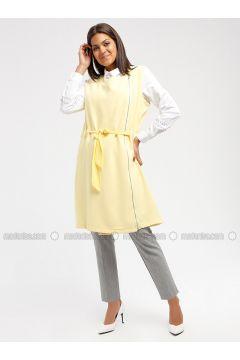 Yellow - Unlined - Crew neck - Cotton - Vest - MY MOOD(110339218)