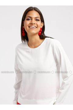 Ecru - Crew neck - Blouses - DRESSLOVE(110339626)