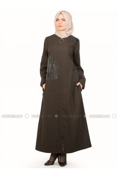 Black - Khaki - Stripe - Unlined - Crew neck - Plus Size Coat - NAKŞİN(110339601)