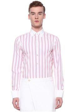 Gabriele Pasini Erkek Neon Pembe Beyaz Yakası Aksesuarlı Çizgili Gömlek 39 IT(109265232)