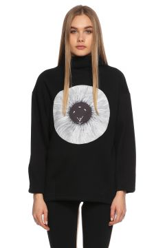Be Mine-Be Mine Desenli Dik Yakalı Siyah Sweatshirt(108598100)