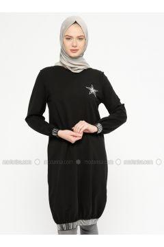 Black - Crew neck - Cotton - Tunic - Marwella(110332571)