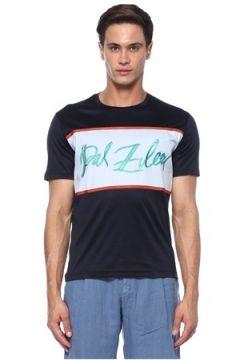 Pal Zileri Erkek Siyah Şerit Baskılı Logo Nakışlı Basic T-shirt Lacivert L EU(118330205)