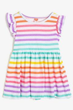 Koton Kız Çocuk Çizgili Bisiklet Yaka Kisa Kollu Elbise(113783025)