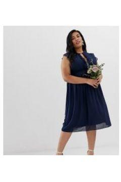 TFNC Plus - Vestito da damigella midi con pizzo blu navy(120332817)