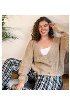 In The Style Plus x Lorna Luxe - Copenhagen - Cardigan doppiopetto in maglia color pietra-Beige(121731648)