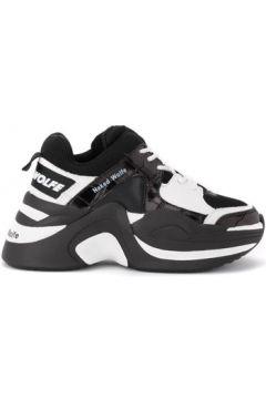 Chaussures Naked Wolfe Baskets Track en cuir noir et blanc imprimé crocodile(101641223)