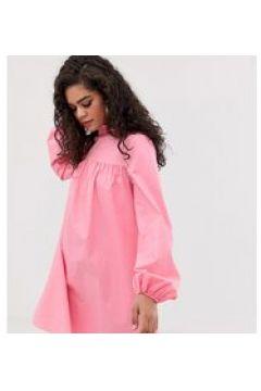 Fashion Union Tall - Vestito a trapezio accollato a maniche lunghe-Rosa(123214313)