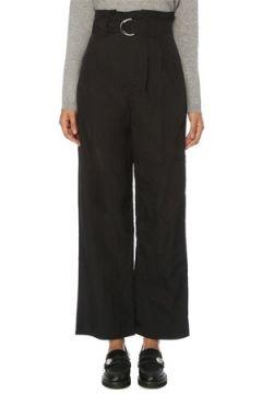 Ganni Kadın Siyah Yüksek Bel Kemerli Bol Paça Pantolon 36 FR(120885398)