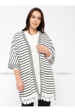 Black - White - Stripe - Viscose - Cardigan - Minimal Moda(110331342)