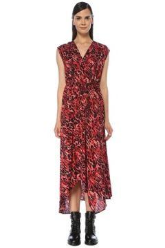 Allsaints Kadın Tate Kırmızı V Yaka Leopar Desenli Midi Elbise XS EU(118060078)